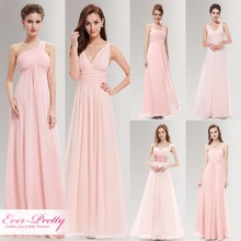 Peachy Pink Long Bridesmaid Dresses A Line One Shoulder Under $50 Ever Pretty EP09816PK Wedding Guest Dress for Bridesmaid Part