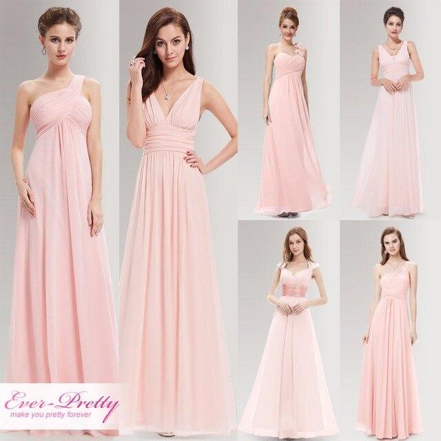 Peachy Rosa largo vestidos de honor una línea de un hombro bajo $50 ...