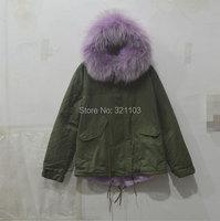 Новые зимние женские пальто парки армия зеленый большой енота меховым воротником с капюшоном светло фиолетовый внутри женские пальто Верх
