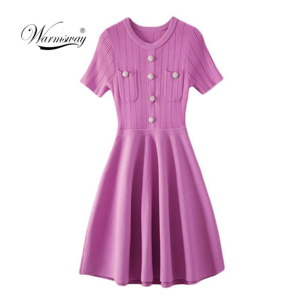 Robe d'été de piste 2019 élégante dame tricoté a-ligne robes de soirée femmes à manches courtes diamants boutons poche robe Midi C-133
