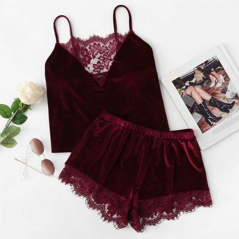 Women Sexy Velvet Lingerie Sleepwear Spaghetti Strap Cami Top Wide Leg Shorts Eyelash Floral Lace Splice Solid Color Pajamas Set