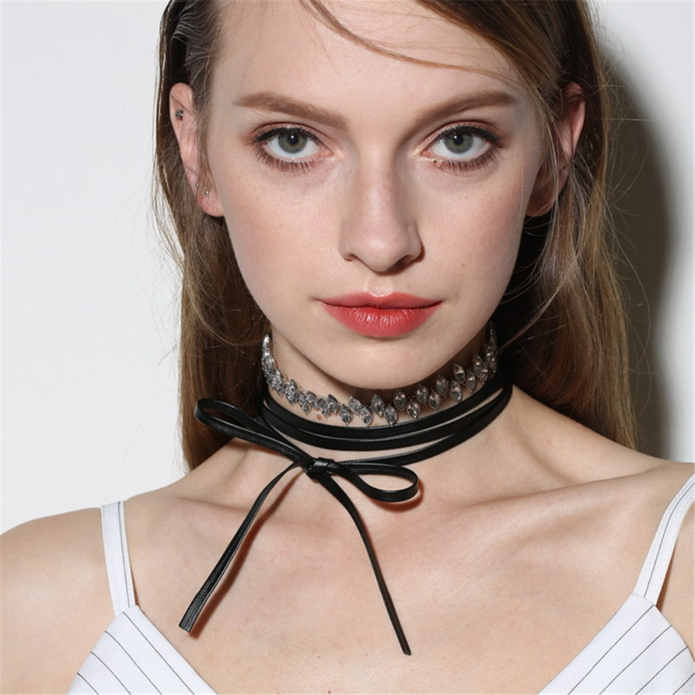 Punk Chokers Collar PU Rope Rhinestone Chorkers Necklace for Women Fashion Jewellery