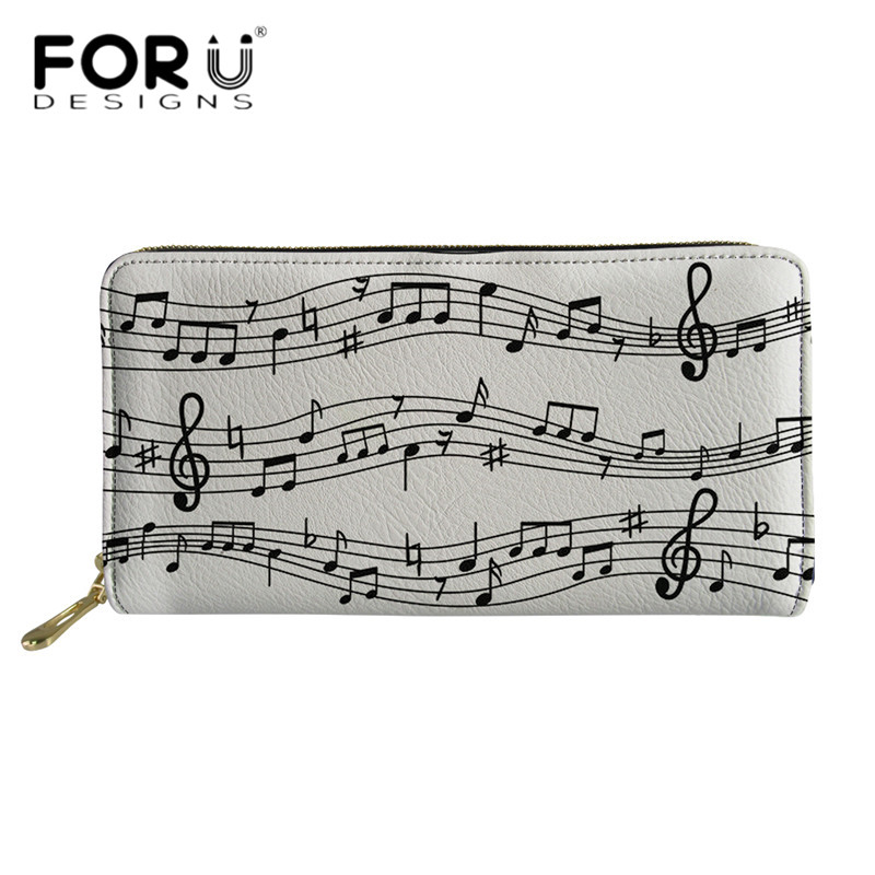 FORUDESIGNS Women Clutch 2019 New Wallet Colorful Music Notes Printed Long Leather Wallets Womens Zipper Purse Travel Money Bag