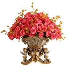 European Resin Wall Vase Ancient Home Wall Fake FlowerPot Mural Crafts Decoration American Hanging Angel Vases Basket Ornament