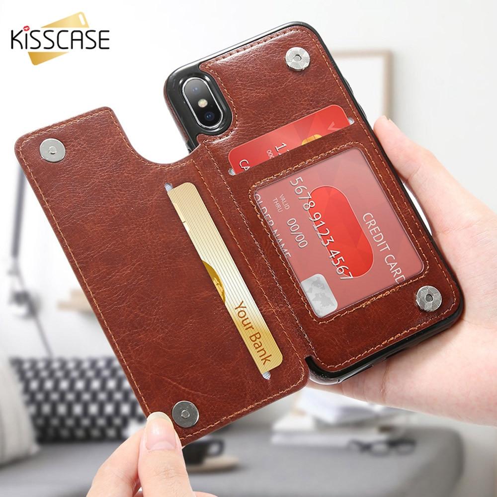 KISSCASE Flip PU Leder Fall Für iPhone X 7 8 6 6 S Plus XR XS MAX Vintage Telefon Fällen für iPhone 5 5 S SE Zurück Abdeckungen Coque Capa