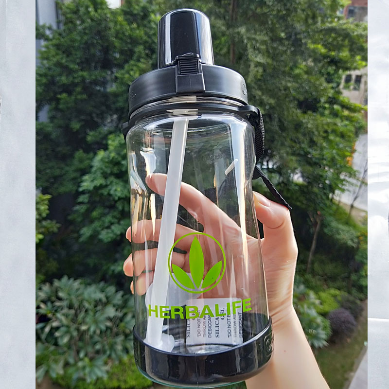 High Quality Eco Friendly 1000ml Pink Black Herbalife Nutrition Plastic Sports Straw Water Bottle Hiking Climbing Space bottle-in Water Bottles from Home & Garden on AliExpress
