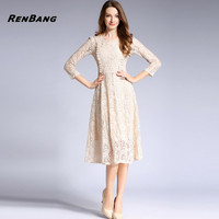 RENBANG Lace Hollow Out Dress Vintage Women Spring Long Sleeve Slim Rockabilly Party Dresses Female Clothes