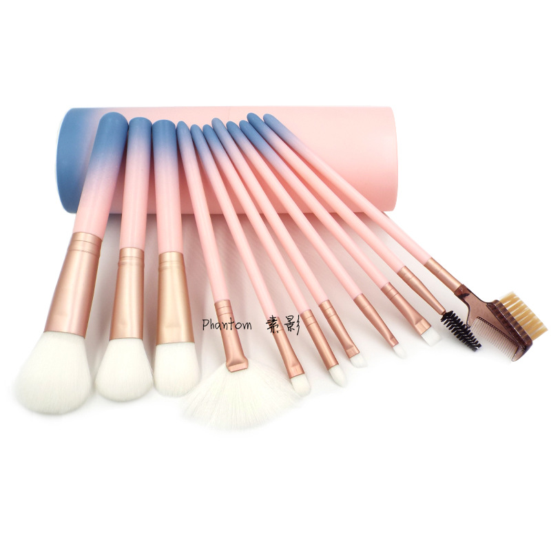 Professional 12pcs Makeup Brushes Set Powder Blush Contour Brush Cosmetic Beauty Tools Pink Gradient Color with Cylinder Case professional 12pcs makeup brushes set beauty powder contour foundation eyebrow blush face brush cosmetic tools with zipper case