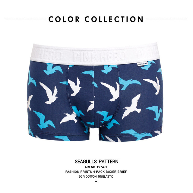 PINK HEROES Original Brand Male Ocean Wind Pure Cotton Man Boxed Straight Angle Underpants mens underwear boxers