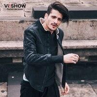 VIISHOW Mùa Đông Áo Gió Nam Áo Khoác Áo Khoác Phong Cách Mỹ Leather Jacket Casual Hip Hop Dài Tay Ấm Quá Khổ Áo Khoác D150054