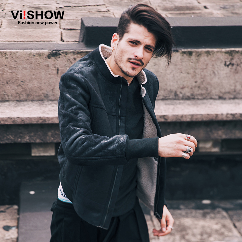 VIISHOW Winter Windbreaker Jacket Men Coat American Style Leather Jacket Casual Hip Hop Long Sleeve Warm Oversize Jacket D150054
