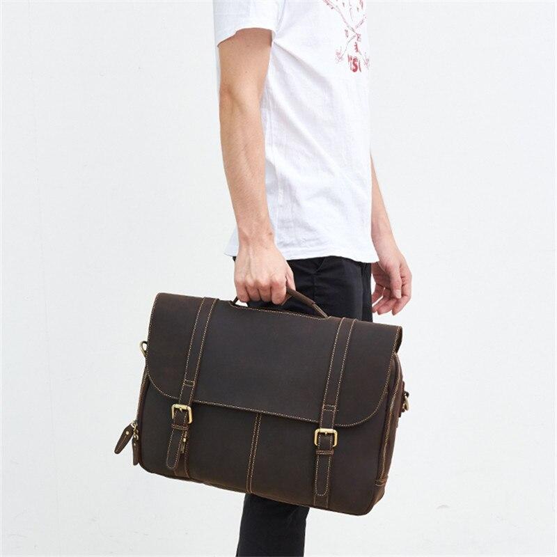 Nesitu Brown Thick Durable Real Skin Genuine Crazy Horse Leather Men Messenger Bag 14'' Laptop Male Briefcase A4 Portfolio M6303