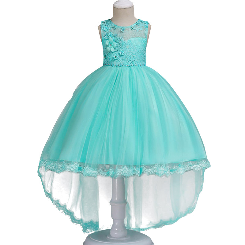 Trailing children clothing dot printed mesh   flower     girl     dresses   for wedding clothes first communion princess   dress   baby costume