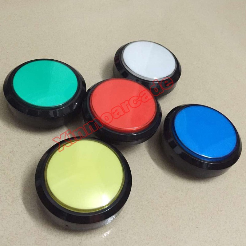 wholesale 5pcs of 100mm Round 12v illuminated LED arcade Push Button with Micro-switch For JAMME MAME machine 5 colors available 5 pcs micro switch d2fc f 7n 10m for mouse replacement substitute tested