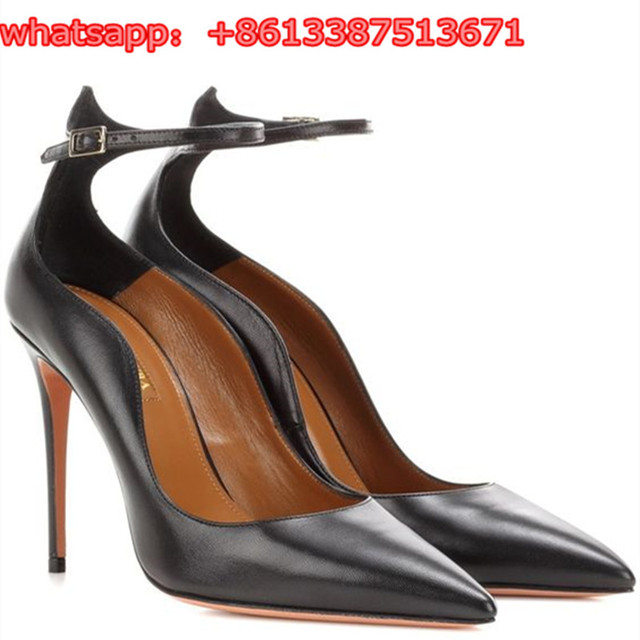 37089bb027 New Collection Black Leather Dolce Vita Women Pumps Mary Janes Pointed Toe  Wave Trim Ankle Strap Stiletto High Heel Shoes Woman