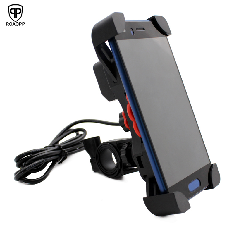 ROAOPP 12V USB Charger Motorcycle Handlebar Holder Moto Motocross Bike Dual USB Socket Charger Power Adapter Outlet Power Stand