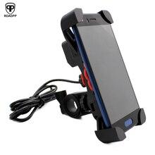 ROAOPP 12V USB Charger Motorcycle Handlebar Holder Moto Motocross Bike Dual Socket Power Adapter Outlet Stand