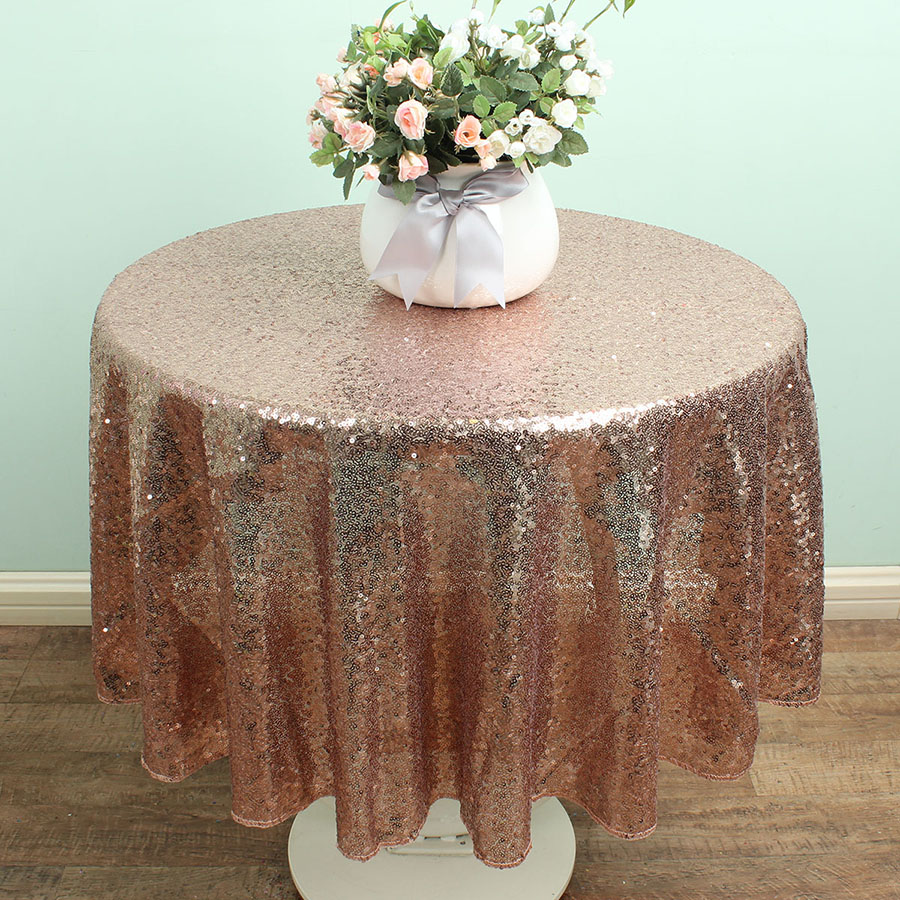 48u0027u0027 Round Champagne Sequin Table Linen Overlay Glitter TableCloths Sparkly  Bling Wedding Party Decoration