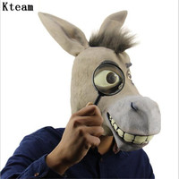 Funny Adults Creepy Funny Donkey Horse Head Mask Latex Halloween Animal Cosplay Zoo Props Party Festival Costume Ball Mask