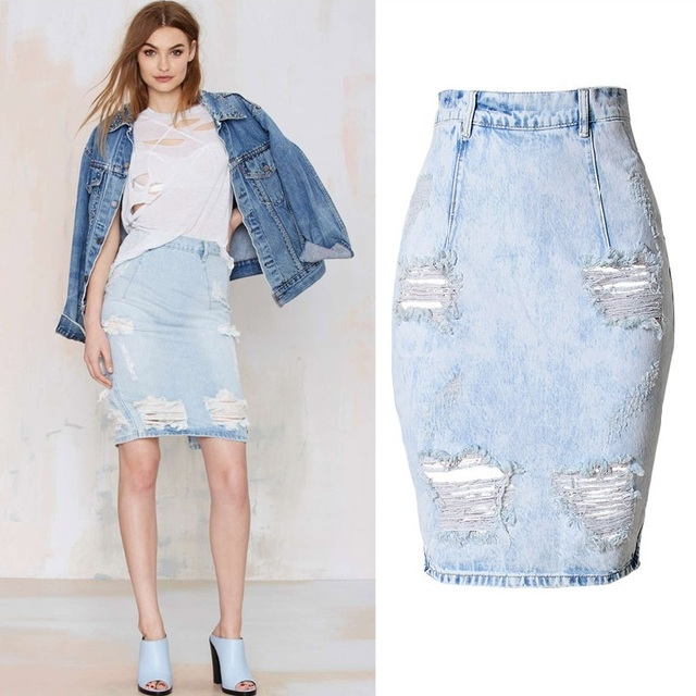 3e599bfd38c Fashion Casual Distressed Plus Size Denim Skirt Sexy Ripped High Waist  Skirts Back Slit Jupe femme