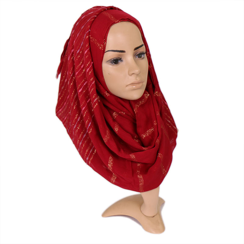 Soft Tassel Gold Thread Scarves Neckerchief Muslim Scarf Winter Shawl