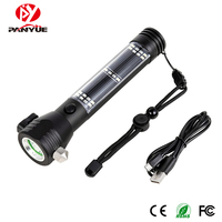 9 in 1 Multi functional Led Flashlight Torch USB Power Bank Solar Powered Flashlight Compass Outdoor Emergency Survival Tool