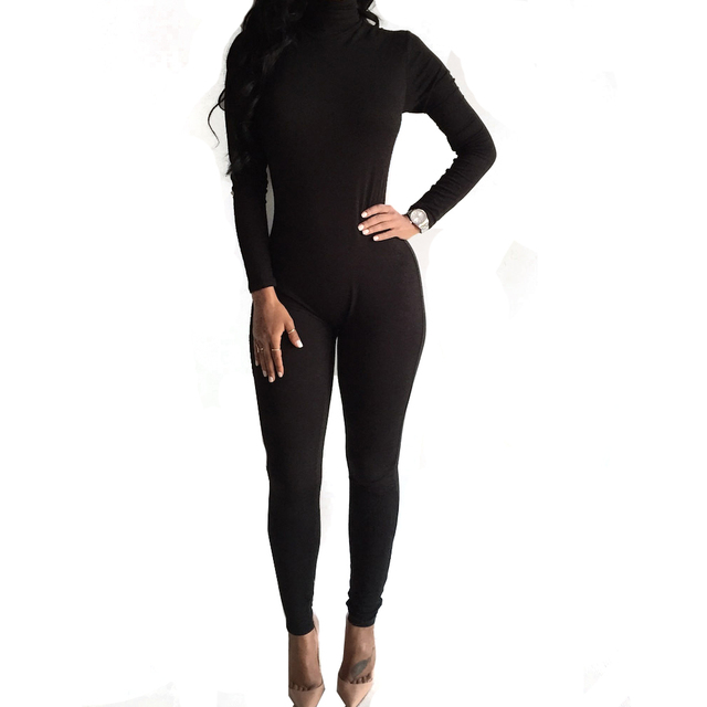 fashion Skinny Bodycon Jumpsuit Women Long Sleeve High Neck Black Stretch Romper Overalls Sexy  Back zipper One Piece Outfits520