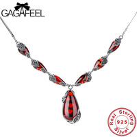 GAGAFEEL Vintage 925 Sterling Silver Red Royal Garnet Female Necklaces Bohemian Natural Semi Precious Stones Pendant Necklaces