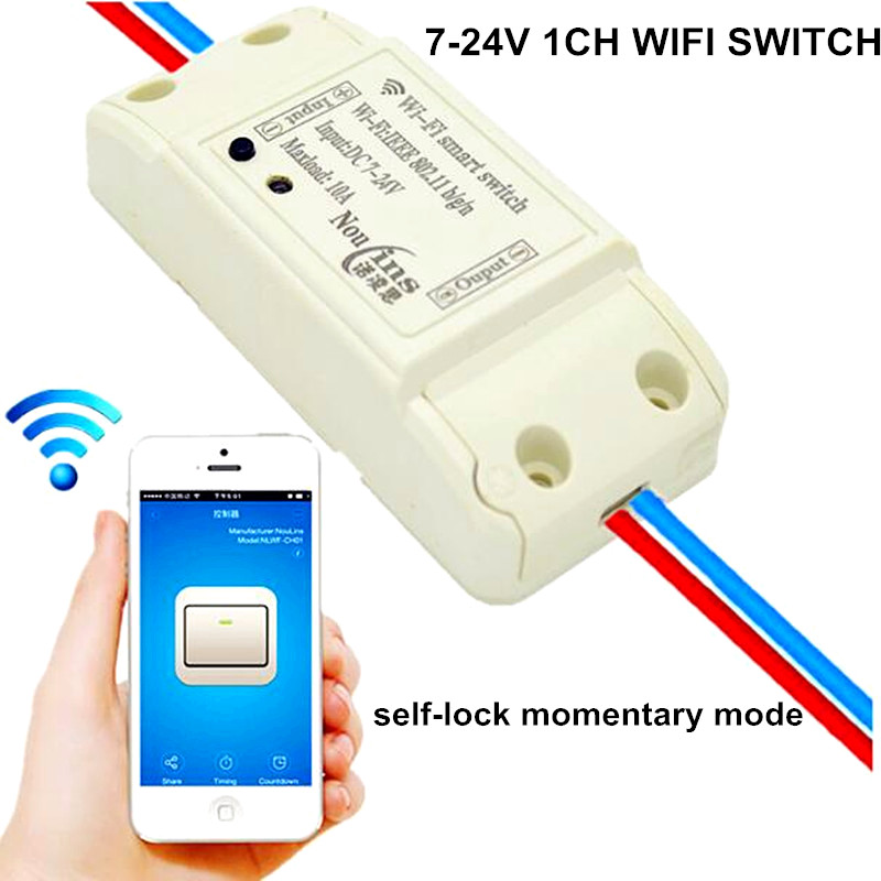 1 Way 7V-24V DC 10A 9V 12V 24V WIFI Smart Home Switch APP Remote Control Relay Momentary Self-lock Module Share Same SONOFF APP 2017 new 1ch dc 7v 9v 12v 24v wifi switch smart home module momentary selflock interruptor for home automation light garage door