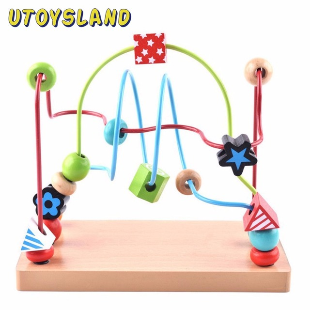 Baby Toy Beads Wire   Utoysland Large Wooden Printing Beads Wire Toy Baby Kids Early