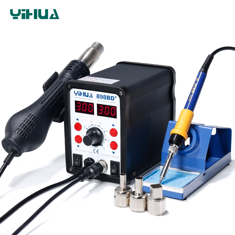 цена на YIHUA898BD+ Desoldering Hot Air Soldering Station 110 V With Iron Soldering Welding Station For Repair