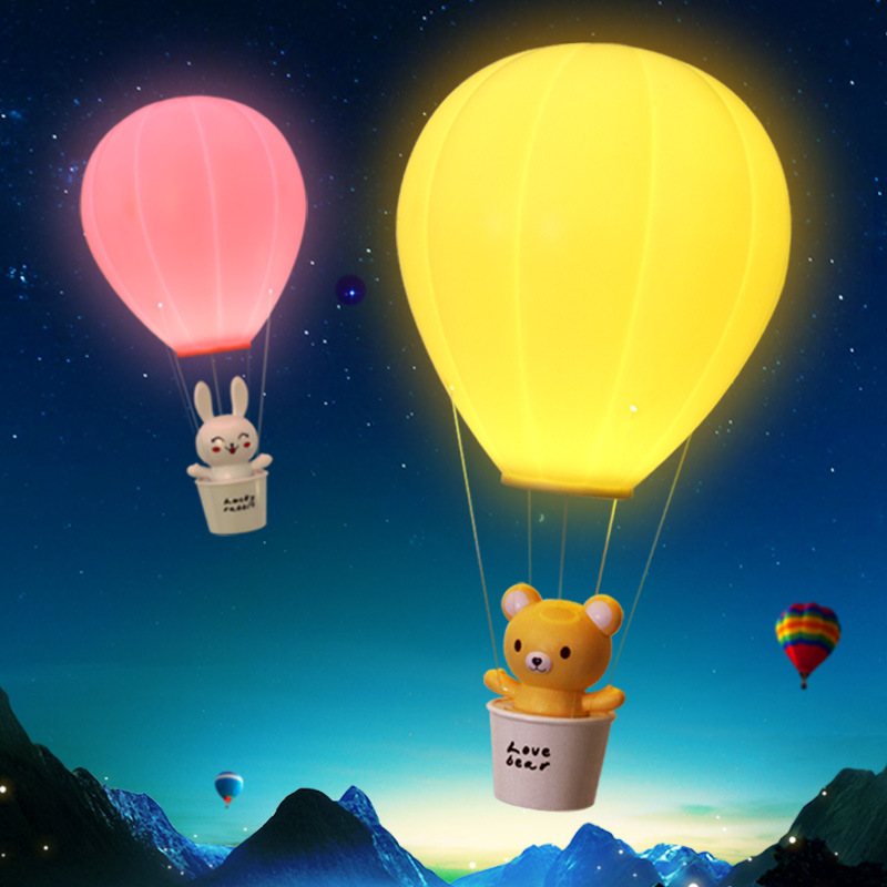 FENGLAIYI Novelty Dimming Hot Air Balloon With Remote Control USB Rechargeable Touch Switch LED Night Light Children's Lamp Wall led remote control colorful eggs rechargeable bar table lamp ktv night club light dimming color led night light free shipping