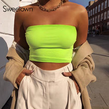Sweetown Neon Verde/Rosa/Giallo Sexy Bralette Crea Tube Top Delle Donne Plain Senza Spalline Crop Top A Fascia Basico Reggiseno estate(China)
