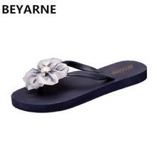 90d5766afd5 BEYARNE Fashion woman beach slippers sandals lady flip flops flat rain  shoes women summer travel slides bowtie flower 35-41