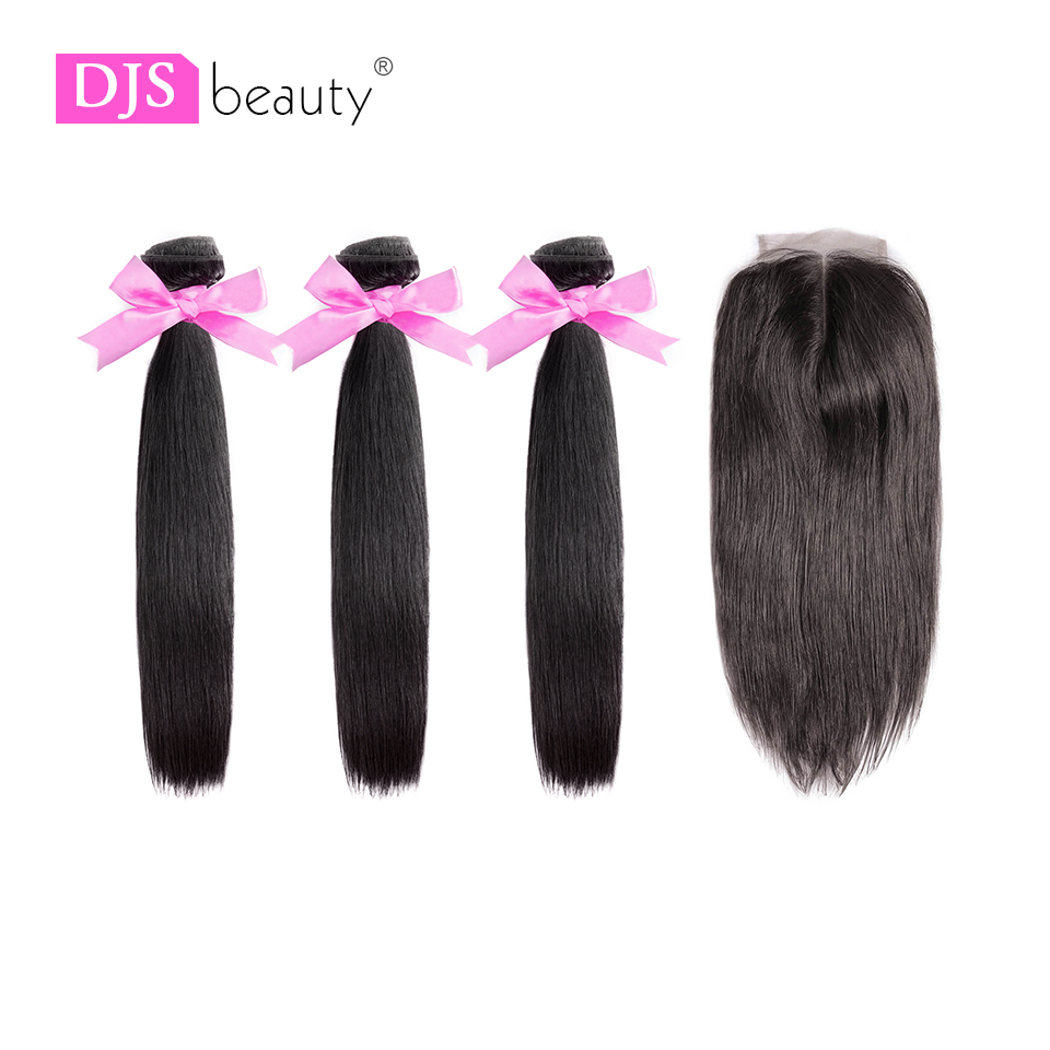Straight Hair Bundles With Closure Peruvian Hair Bundles Swiss Lace Middle Part Closure 8A Virgin Hair