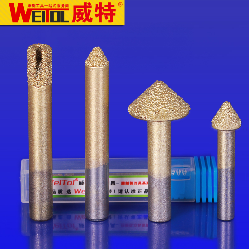 Weitol free shipping 6mm/8mm shank Brazing stone engraving bits marble carving tools CNC router bits stone milling cutter free shipping cnc router stone and wood engraving bits 1pc 45 60 90 degree 6mm pcd bit cnc diamond hard granite tools
