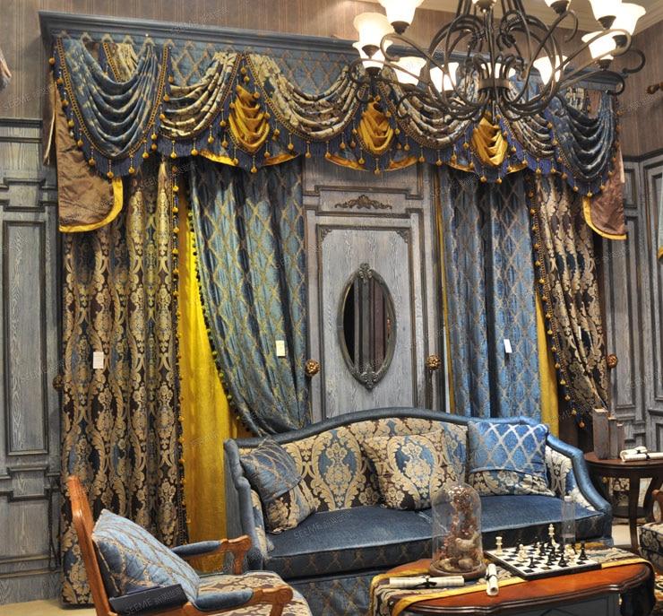 Işık Kraliyet Mavi Gökyüzü Mavi Altın Salon valance ile Kanca - Ev Tekstili - Fotoğraf 2