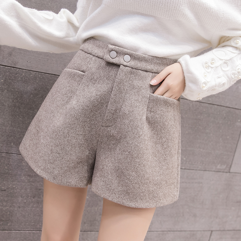 MUMUZI New 2019 Spring & Winter Fashion women's wool   shorts   buttons casual wide leg   shorts   with pockets   short   feminino cintura