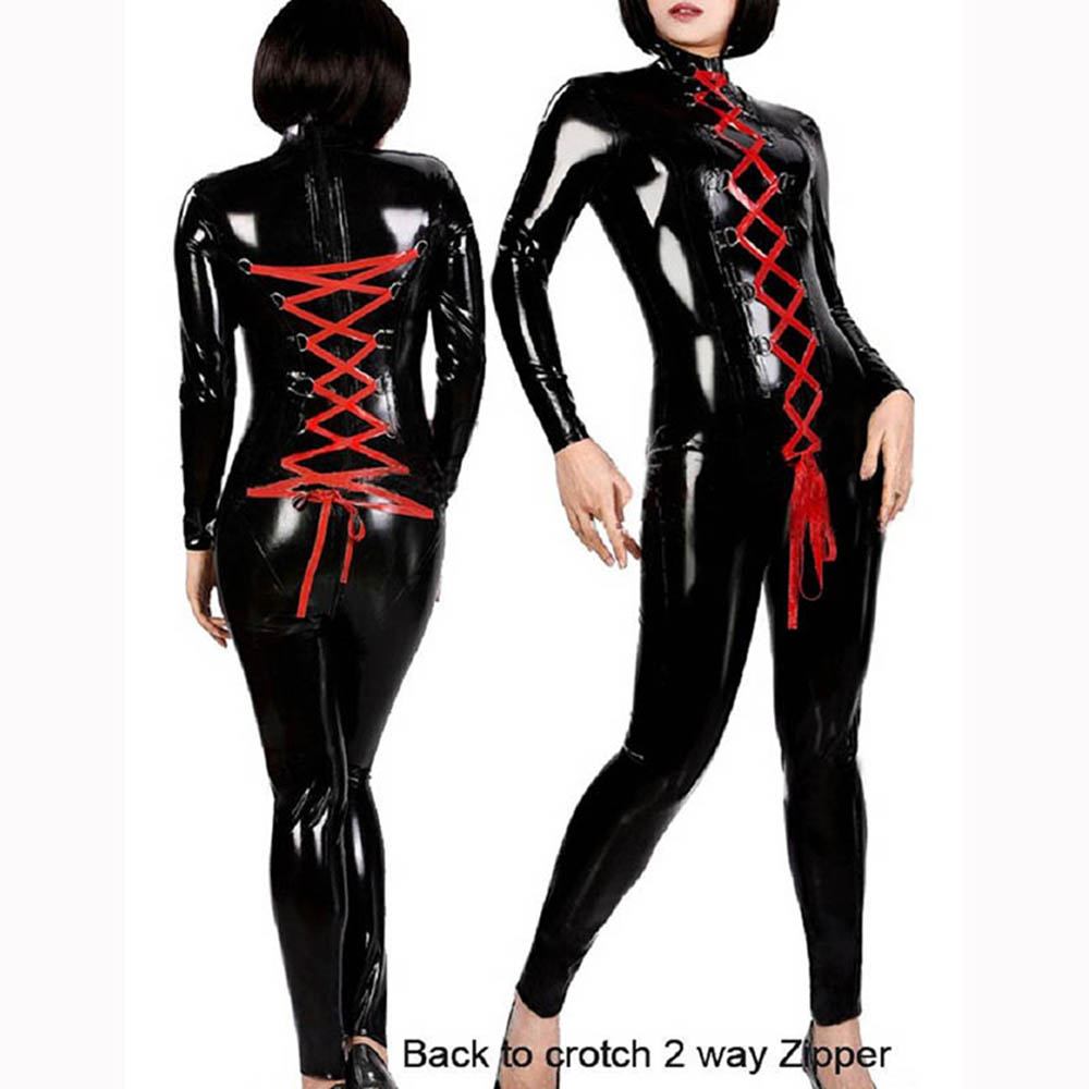2017 Sexy Latex Catsuit Faux Leather Jumpsuit Women Red Ribbon Lace Up Bodycon Stretchy Jumpsuit Clubwear Vinyl Costumes