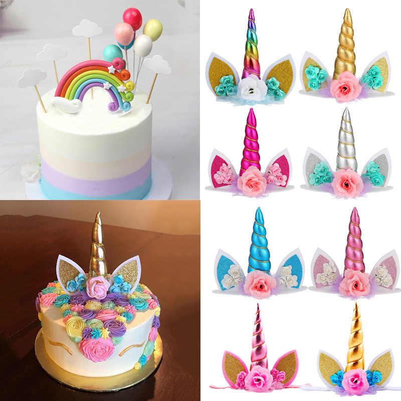 Cyuan Unicorn Kue Ulang Tahun Sayap Dekorasi Kartun Unicorn Kue Toppers Dekorasi Pesta Ulang Tahun Anak Anak Cupcake Pembungkus Kue Topper