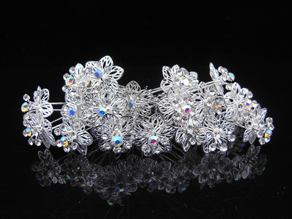 100 Pcs Flower Crystal Rhinestone Wedding Bridal Prom Silver Hair Clip Hair Pins New Free Shipping