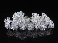 цена на 100 Pcs Flower Crystal Rhinestone Wedding Bridal Prom Silver Hair Clip Hair Pins New Free Shipping