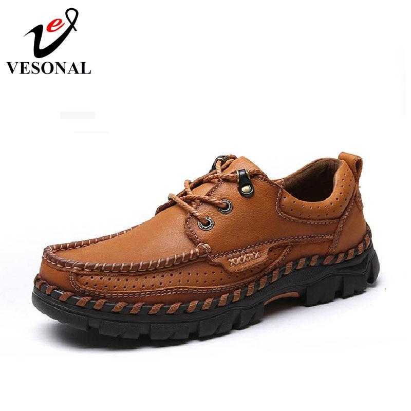 VESONAL حار بيع 2017 جديد العلامة التجارية جلد طبيعي عارضة الذكور الأحذية للرجال الكبار جودة الخريف المشي تنفس الرجل الأحذية-في أحذية رجالية غير رسمية من أحذية على  مجموعة 1
