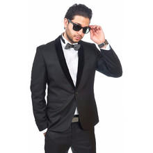 Custom Made Homecoming Suit Groomsmen Shawl Black Lapel Groom Tuxedos Charcoal Men Suits Wedding Best Man (Jacket+Pants)