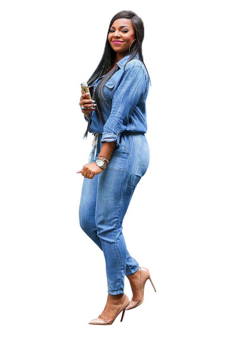 Adogirl Vintage Plus Size Jeans Jumpsuit Turn Down Collar Long Sleeve Bandage Denim Rompers Women Bodysuits Combinaison S-3XL 1