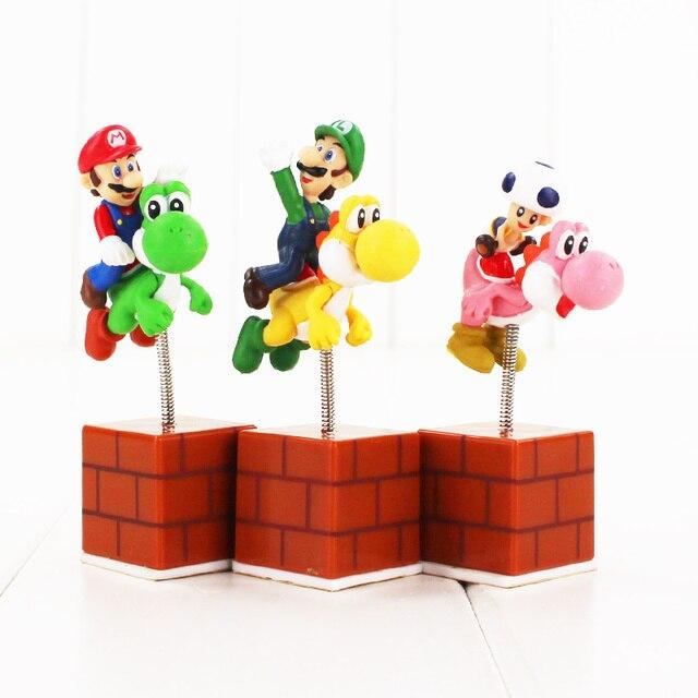 3 unids/lote Super Mario figuras Mario Luigi Toad Mushroom Riding ...