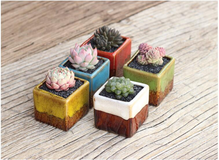 5pcs Household Ceramic Mini Flowerpots Simple Pastoral Style Square Succulents Flower Pots Desktop Decoration High Quality L476