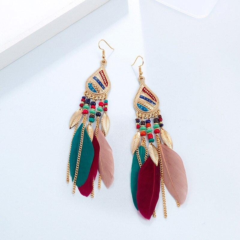 Богемные красочные серьги с перьями, Длинные бусины-кисточки, висячие серьги, ювелирные изделия для женщин, Свадебные Летние украшения