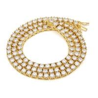 Luxury Mens Women Golden AAA Rhinestones 1 Row 5mm Zircon Buckle Necklaces Chains Bling Steel Pendants Hip Hop Jewelry Gifts