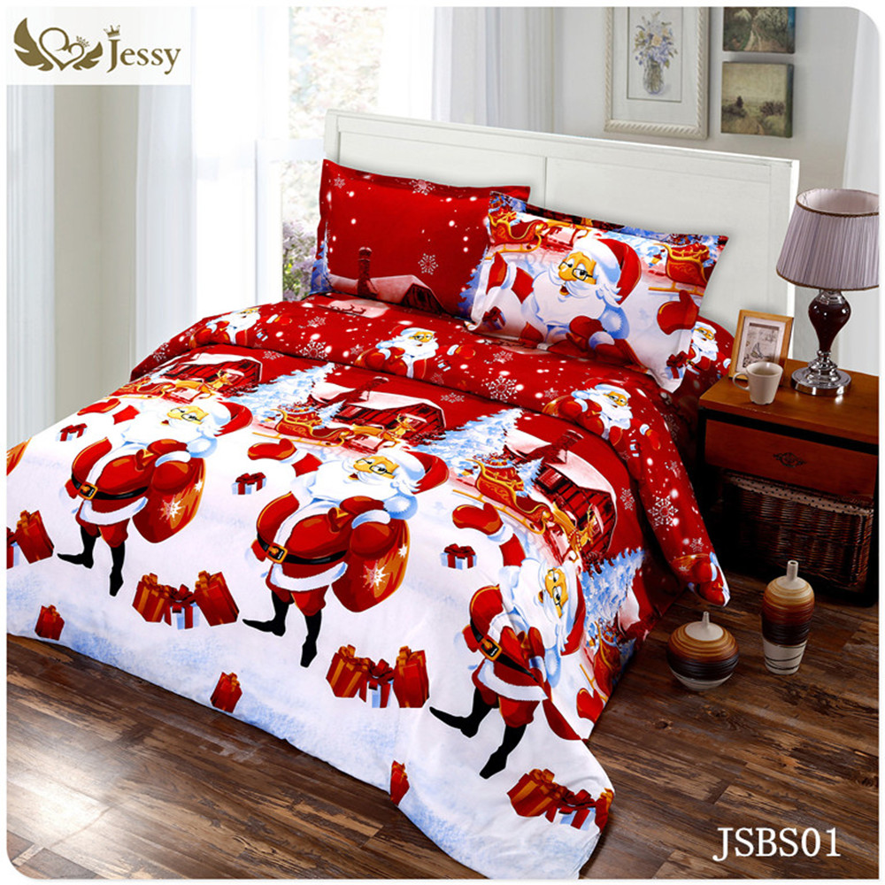 for merry christmas christmas gift set 34pcs christmas santa clause 3d bedding set duvet cover bed sheet pillowcase sham covers in bedding sets from home - Christmas Bedding Sets